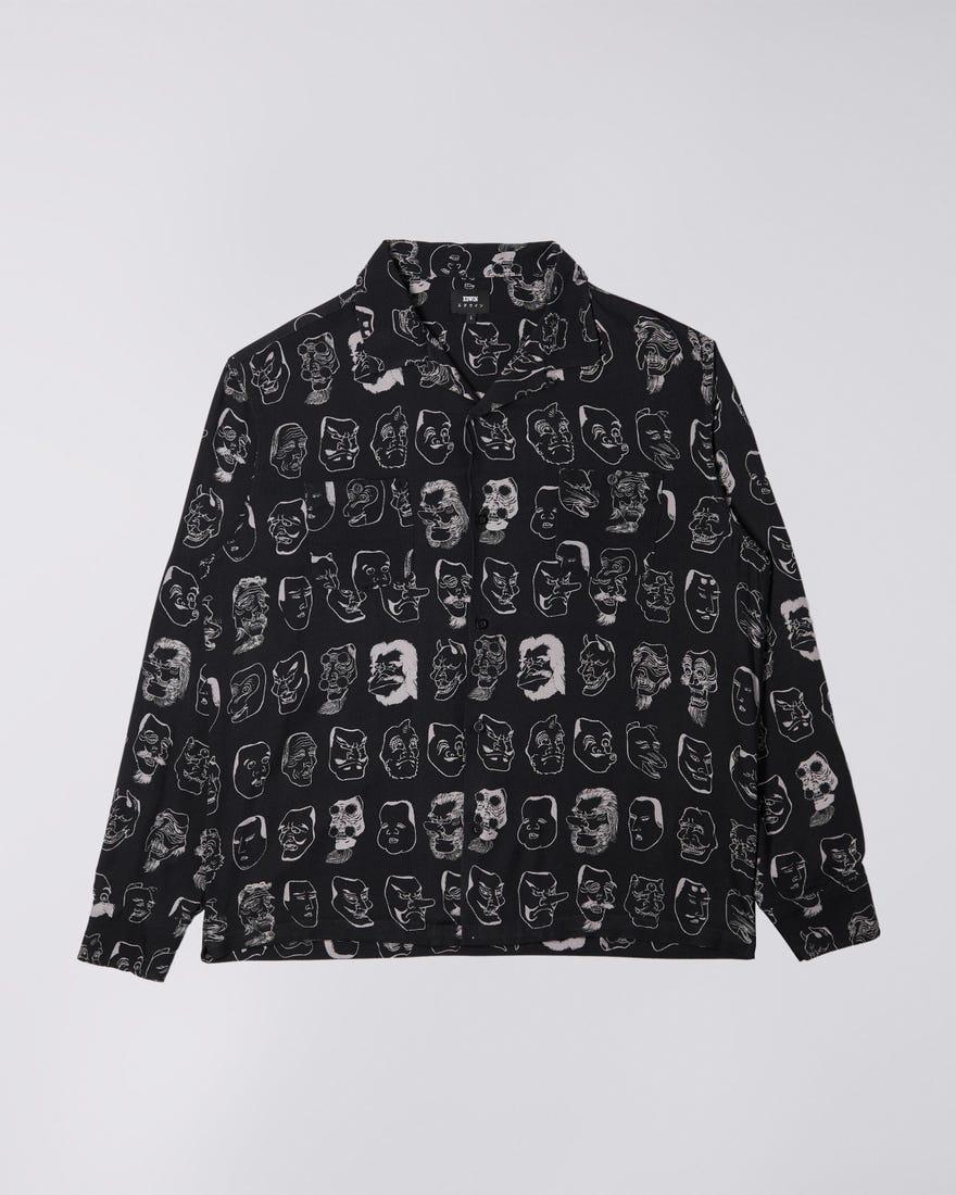 Hokusai Noh Masks Shirt LS